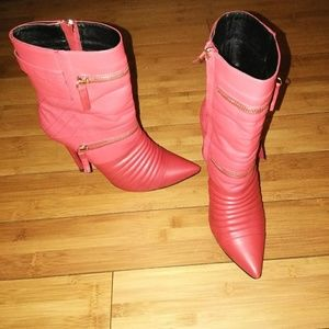 Shoes - CLASSY RED VEGAN LEATHER POINTY TOE ANKLE BOOTS
